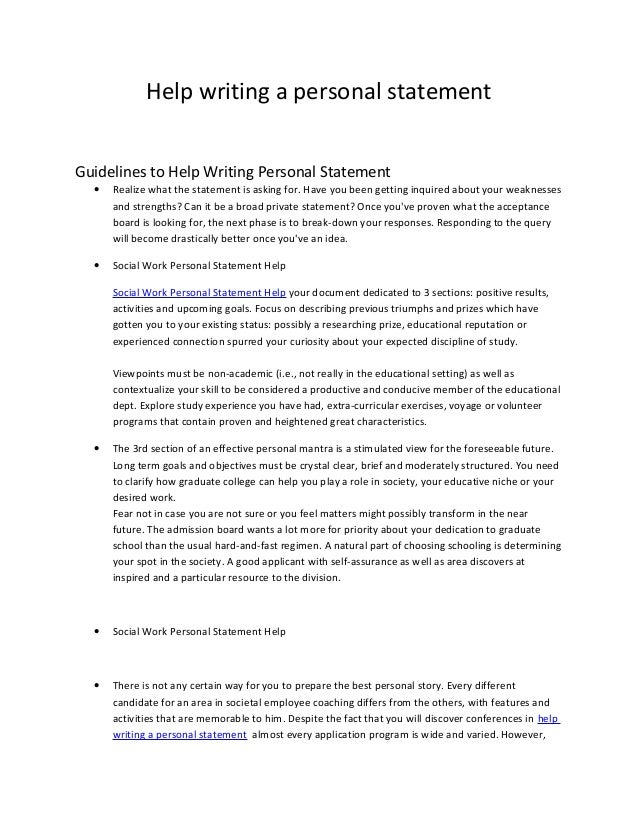 Personal statement writing help for a job