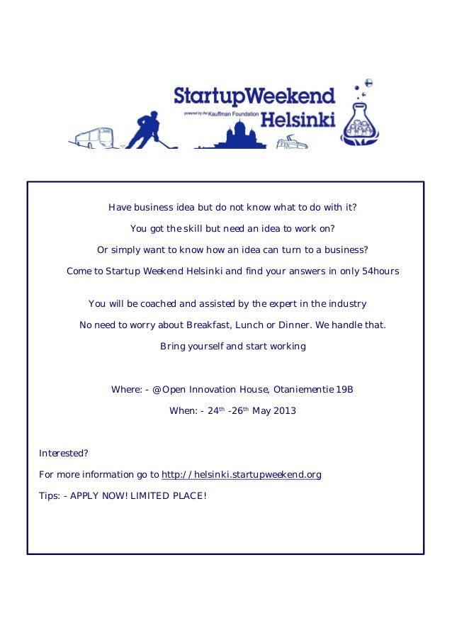 Helsinki startup weekend flyer