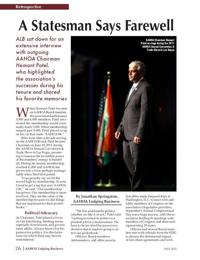 Hemant Patel  Retrospective May 2012