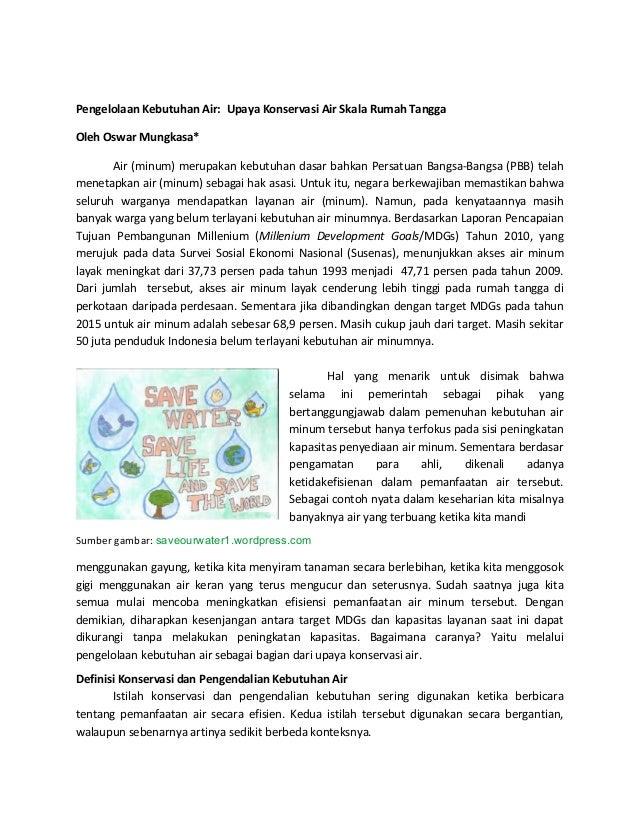 Pengelolaan Kebutuhan Air:  Upaya Konservasi Air Skala Rumah Tangga Oleh Oswar Mungkasa*      ...