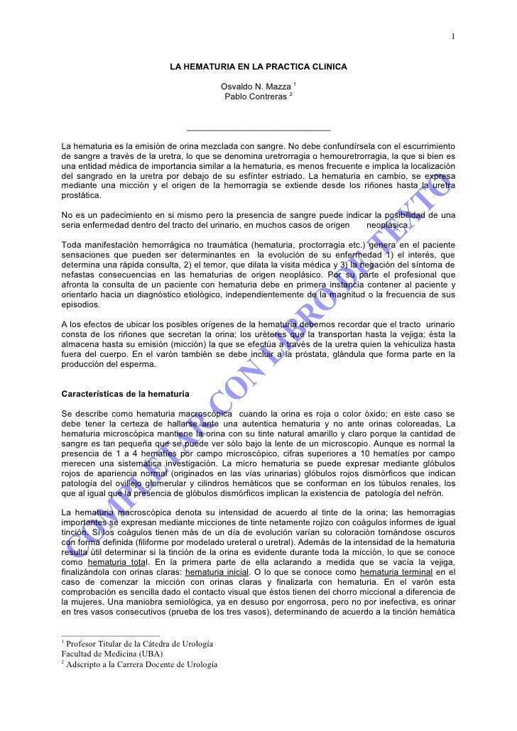 1                                 LA HEMATURIA EN LA PRACTICA CLINICA                                                 Osva...