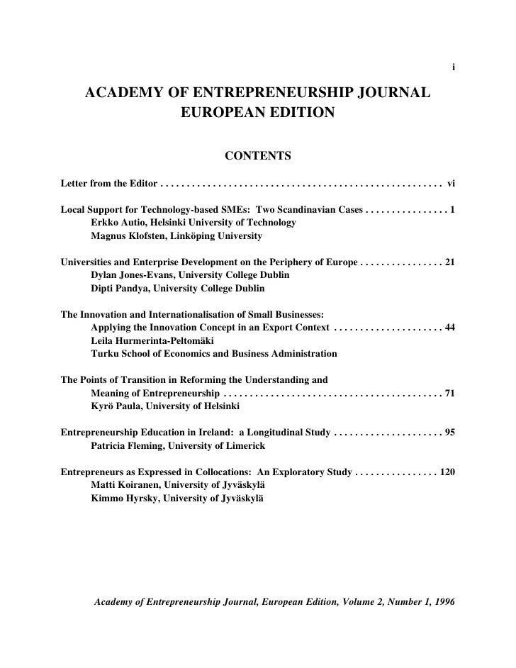i          ACADEMY OF ENTREPRENEURSHIP JOURNAL                  EUROPEAN EDITION                                          ...