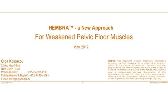 HEMBRA™ - a New Approach                              For Weakened Pelvic Floor Muscles                                   ...