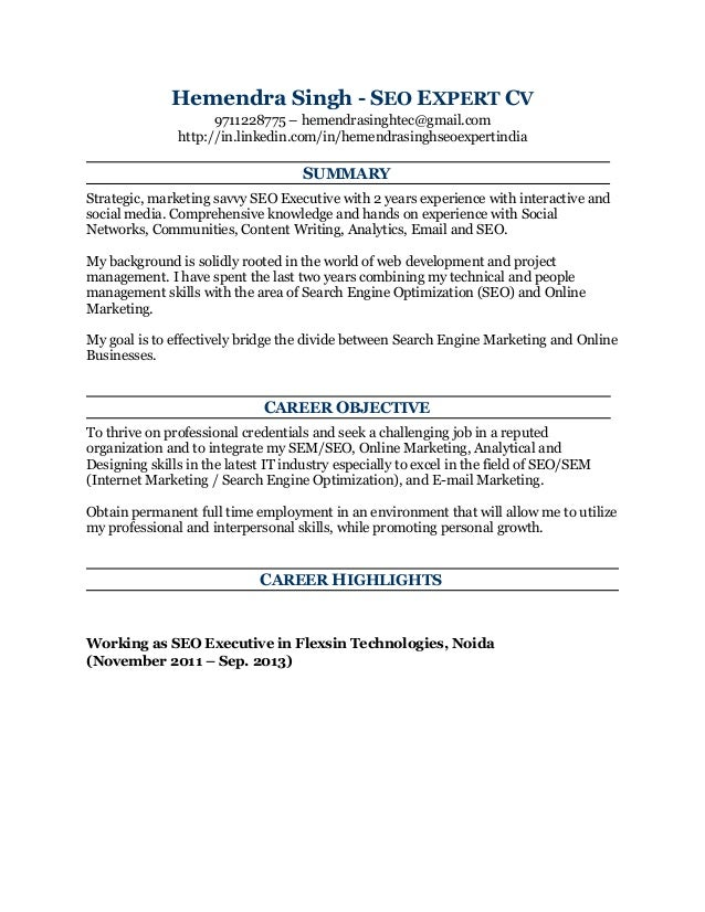 Online marketing expert resume