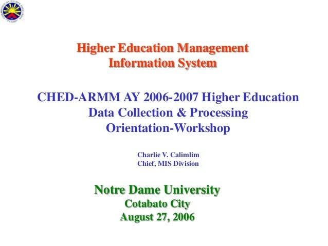 Higher Education MIS - ARMM HEIs