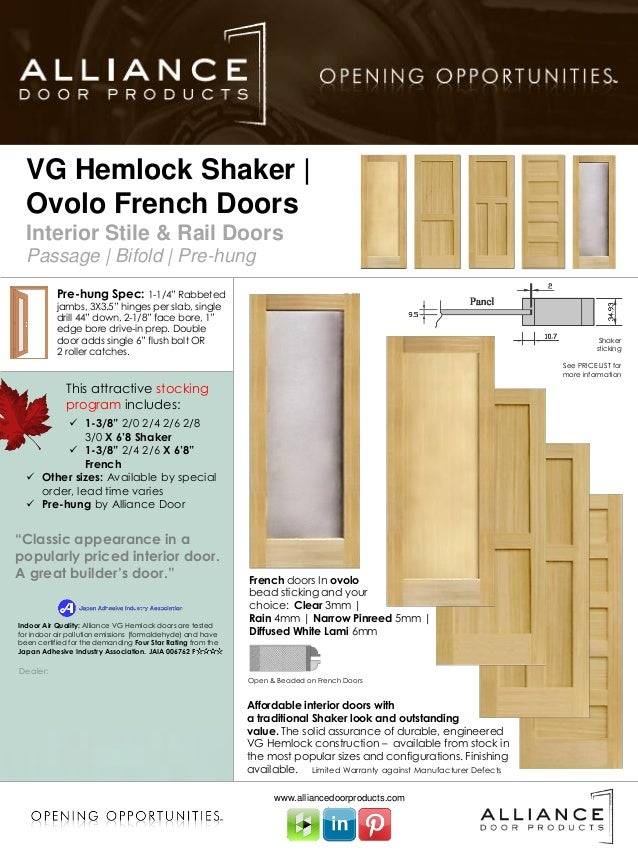 Vg Hemlock Shaker French Stile Amp Rail Interior Door