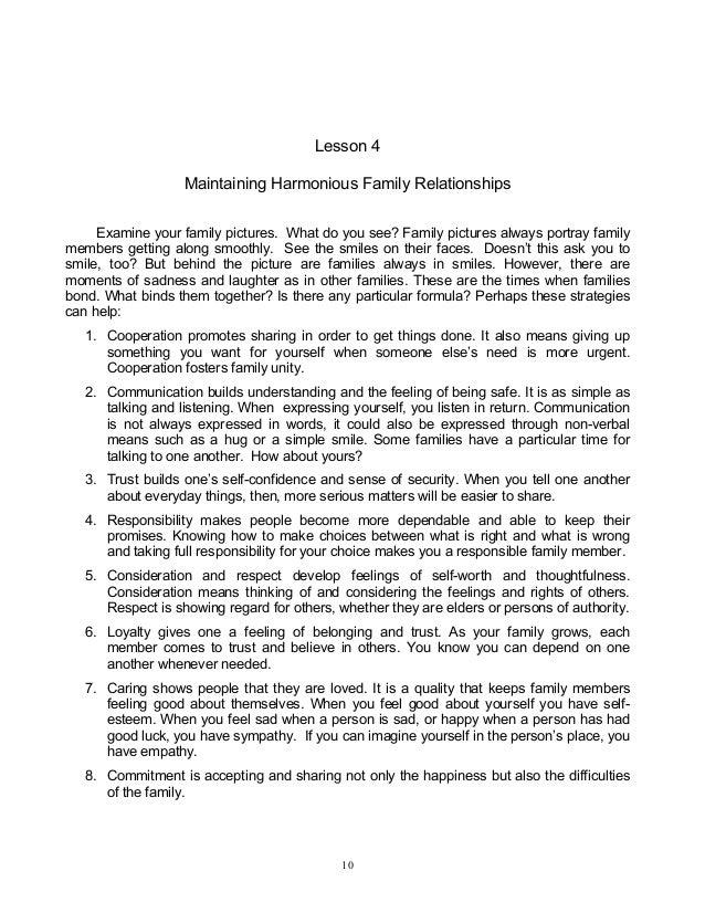 Family relationships essay