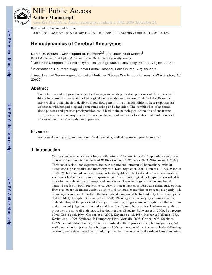 Hemodynamics Of Cerebral Aneurysm