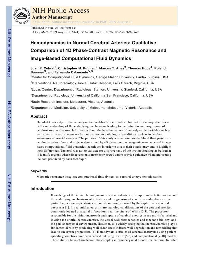 Hemodynamics Of Normal Cerebral Arteries