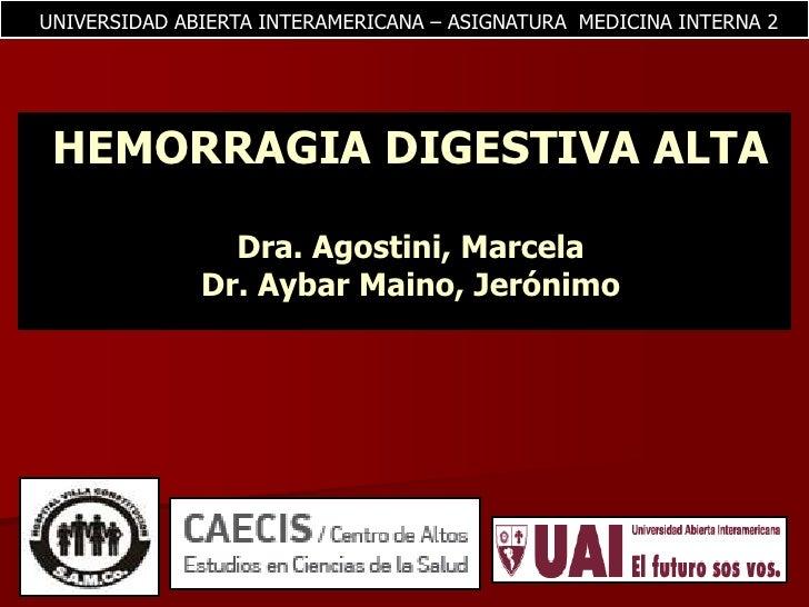 Hemorragia digestiva - Medicina Interna II Uai