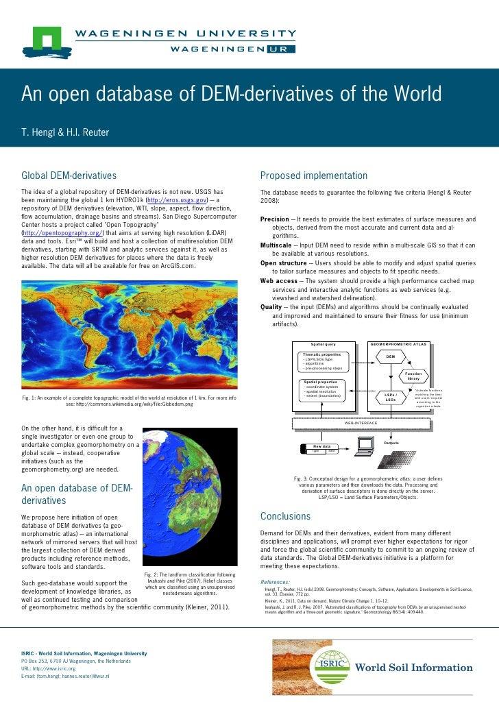 An open database of DEM-derivatives of the WorldT. Hengl & H.I. ReuterGlobal DEM-derivatives                              ...