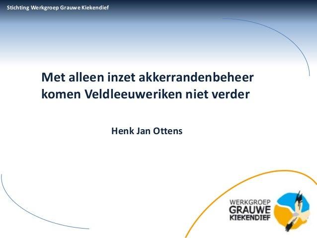 Stichting Werkgroep Grauwe Kiekendief            Met alleen inzet akkerrandenbeheer            komen Veldleeuweriken niet ...