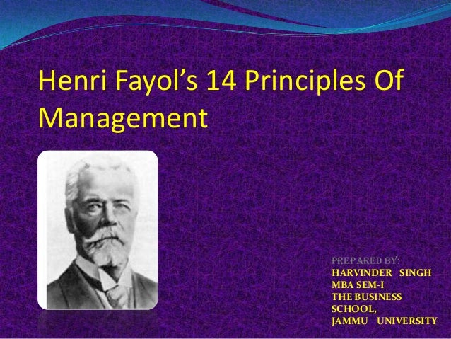 Henri Fayol's 14 Principles OfManagementPrepared by:HARVINDER SINGHMBA SEM-ITHE BUSINESSSCHOOL,JAMMU UNIVERSITY