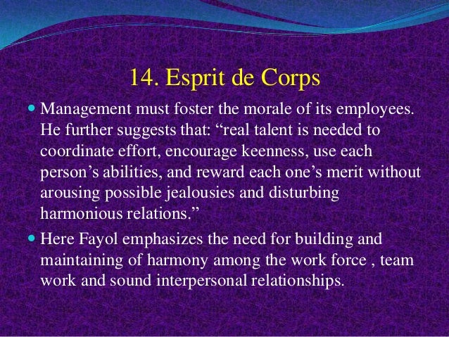 Esprit de corps principle of management