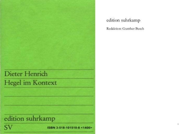edition suhrkampRedaktion: Gunther Busch                           1
