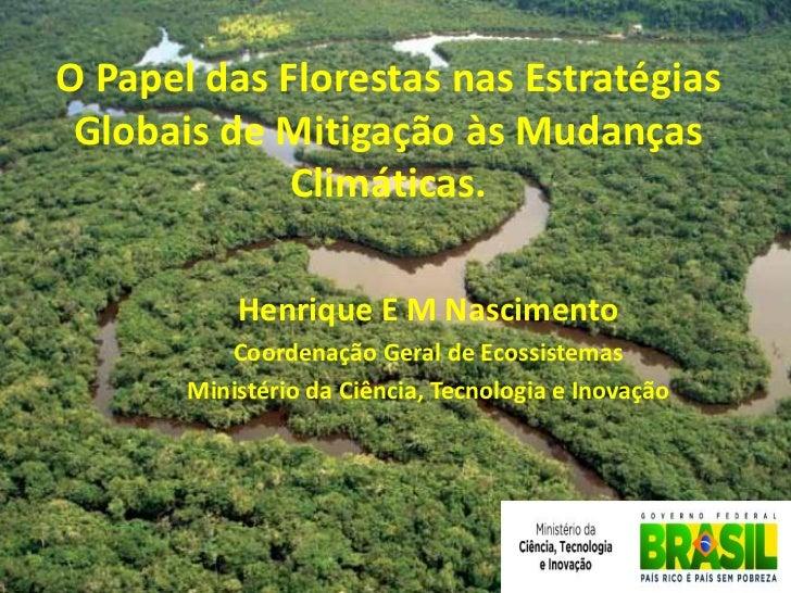 O Papel das Florestas nas Estratégias Globais de Mitigação às Mudanças             Climáticas.           Henrique E M Nasc...