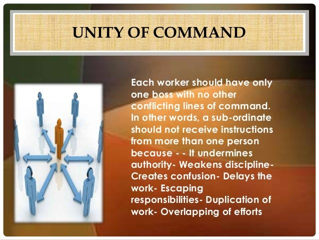 fayol unity of command Henri fayol (29 july 1841 – 19 november 1925) was a french mining engineer,  mining  unity of command - every employee should receive orders from only  one superior or behalf of the superior unity of direction - each group of.