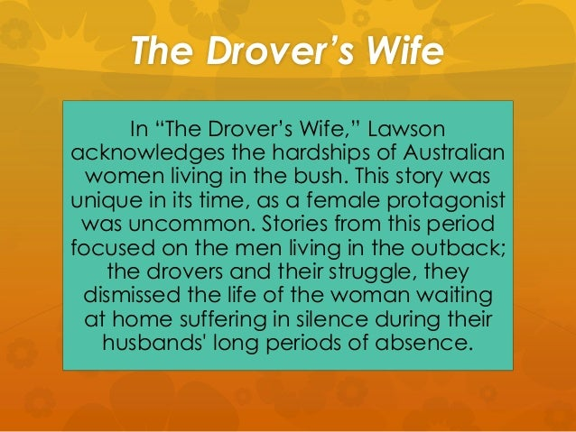 "drovers wife reflection ""the drover's wife"" was written by henry lawson is a short story about a woman who live in a bush with her four children and a dog, aligance, while her husband didn't at home because of driving."