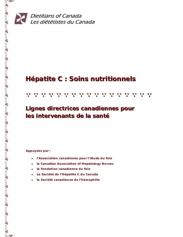 Hépatite C : Soins nutritionnelsQQQQQQQQQQQQQQQQQQQQQQQQQQQQQQQQQQLignes directrices canadiennes pourLignes directrices ca...