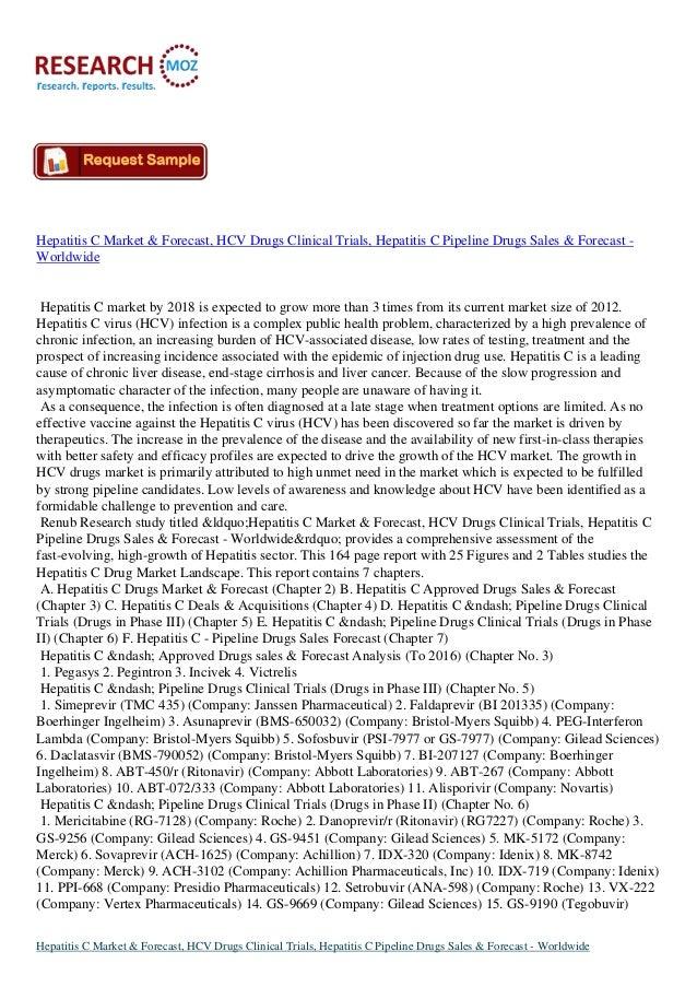 Hepatitis C Market & Forecast, HCV Drugs Clinical Trials, Hepatitis C Pipeline Drugs Sales & Forecast - Worldwide
