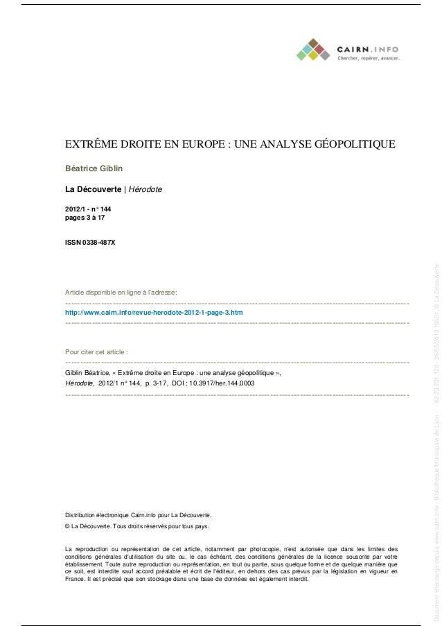 EXTRÊME DROITE EN EUROPE : UNE ANALYSE GÉOPOLITIQUE Béatrice Giblin La Découverte | Hérodote 2012/1 - n° 144 pages 3 à 17 ...