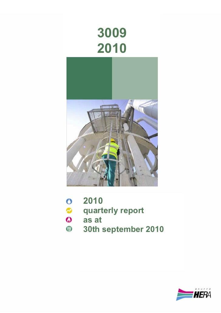 3009   20102010quarterly reportas at30th september 2010