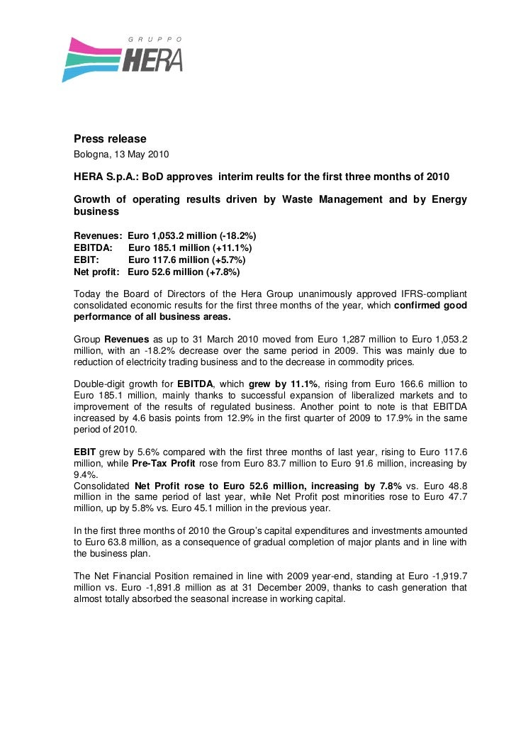 Press releaseBologna, 13 May 2010HERA S.p.A.: BoD approves interim reults for the first three months of 2010Growth of oper...