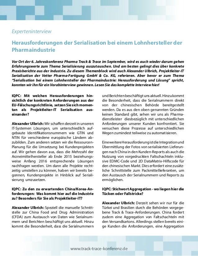 Herausforderungen der Serialisation bei einem Lohnhersteller der Pharmaindustrie Vor Ort der 6. Jahreskonferenz Pharma Tra...