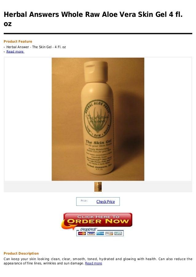 Herbal answers whole raw aloe vera skin gel 4 fl. oz
