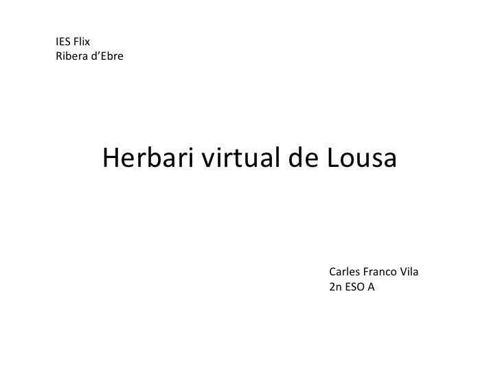 IES Flix Ribera d'Ebre             Herbari virtual de Lousa                             Carles Franco Vila                ...