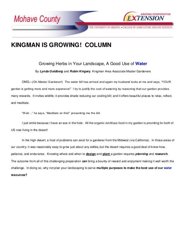 KINGMAN IS GROWING! COLUMN                      Growing Herbs in Your Landscape, A Good Use of Water                   By ...