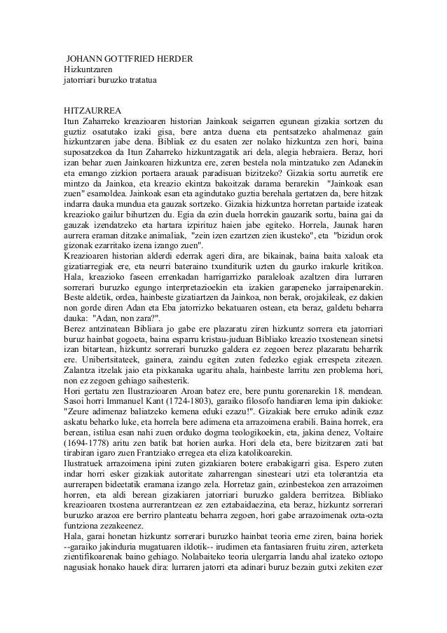 JOHANN GOTTFRIED HERDERHizkuntzarenjatorriari buruzko tratatuaHITZAURREAItun Zaharreko kreazioaren historian Jainkoak seig...