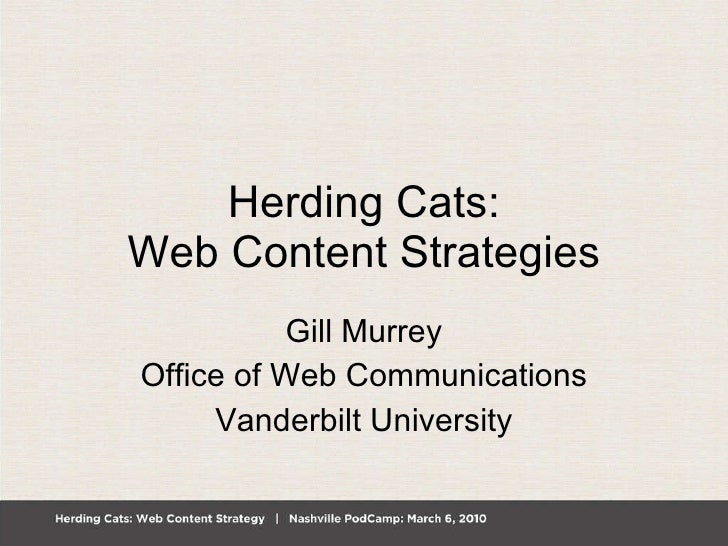 Herding Cats: Web Content Strategies Gill Murrey Office of Web Communications Vanderbilt University