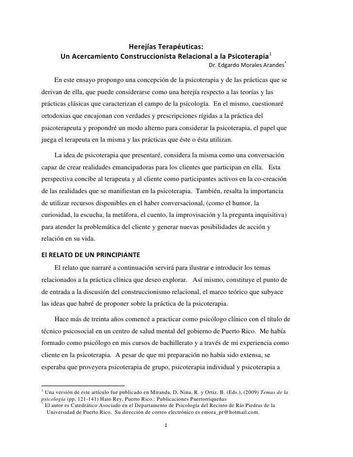 Herejías Terapéuticas:         Un Acercamiento Construccionista Relacional a la Psicoterapia1                             ...