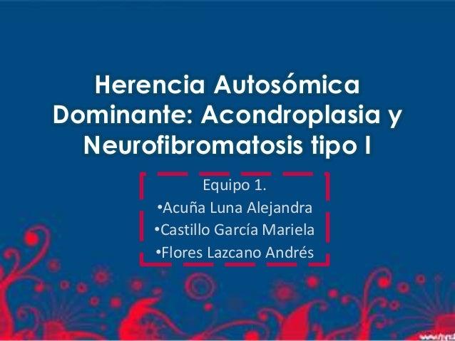 Herencia AutosómicaDominante: Acondroplasia y  Neurofibromatosis tipo I               Equipo 1.       •Acuña Luna Alejandr...