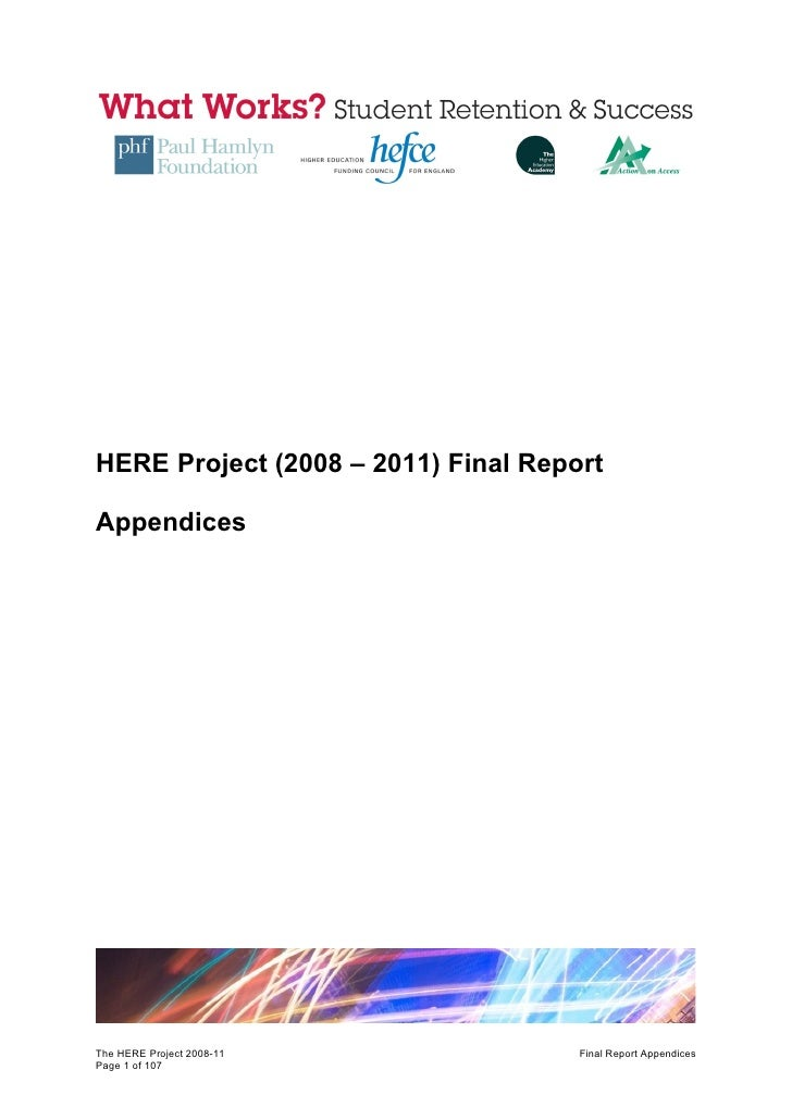 HERE Project Final Report Appendices