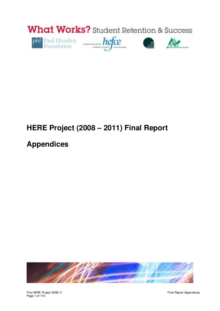 HERE Project (2008 – 2011) Final ReportAppendicesThe HERE Project 2008-11              Final Report AppendicesPage 1 of 110