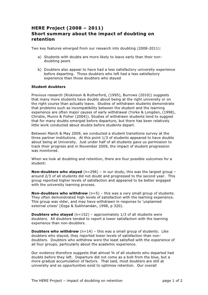 HERE Project (2008 – 2011)<br />Short summary about the impact of doubting on retention <br />Two key features emerged fro...