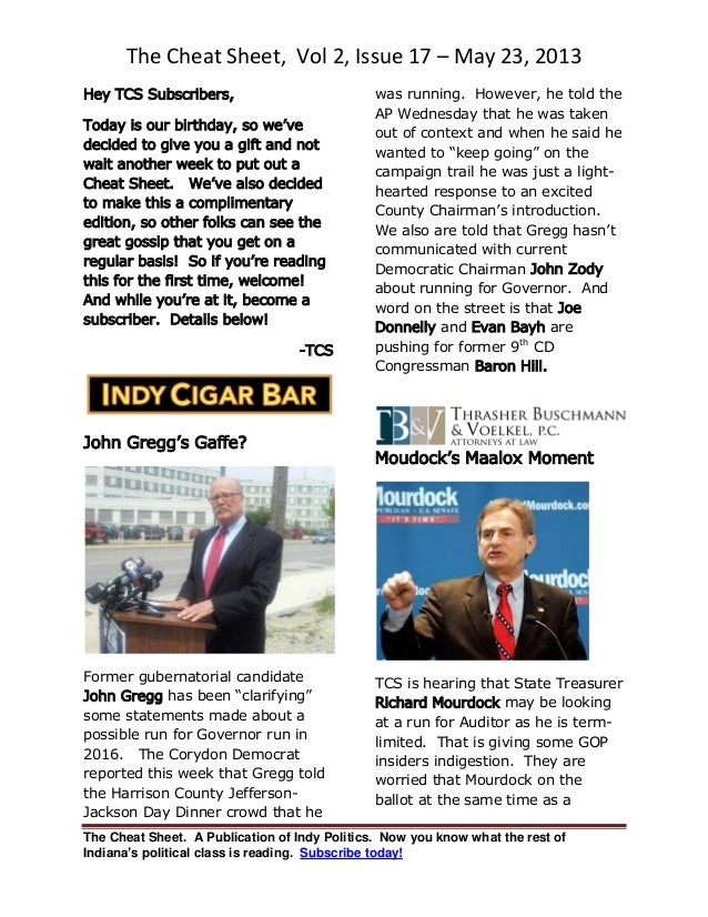 The Cheat Sheet, Vol 2, Issue 17 – May 23, 2013The Cheat Sheet. A Publication of Indy Politics. Now you know what the rest...
