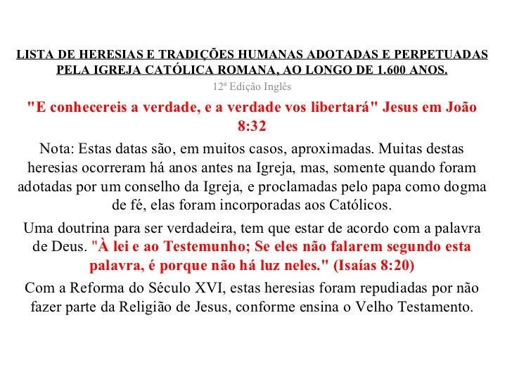 Heresias da igreja católica romana