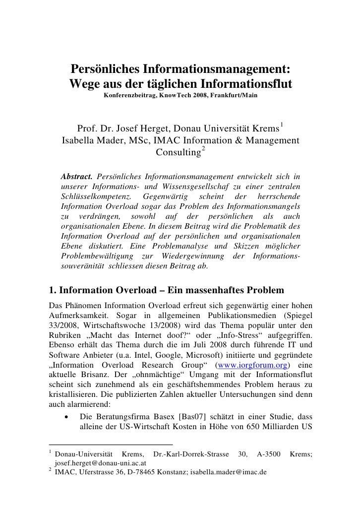 Persönliches Informationsmanagement:        Wege aus der täglichen Informationsflut                  Konferenzbeitrag, Kno...