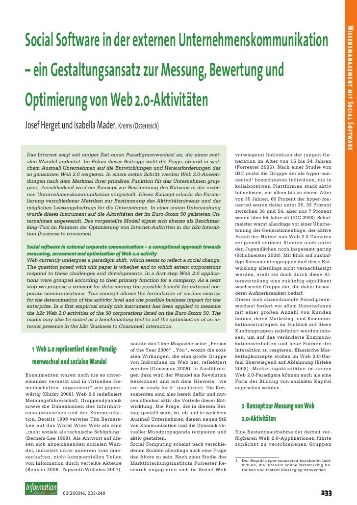 Wissensmanagement mit Social Software Social Software in der externen Unternehmenskommunikation – ein Gestaltungsansatz zu...