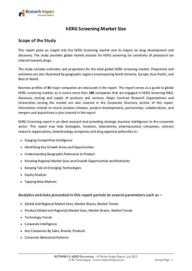 RITMIR013: hERG Screening – A Market Insight Report, July 2013 © RI Technologies - www.researchimpact.com Sample Page - 1 ...