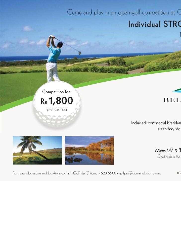 Heritage resort Bel Ombre golf trophy individual stroke play 16 juillet 2011
