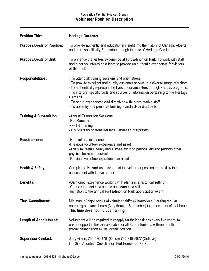 Recreation Facility Services Branch                                        Volunteer Position Description   Position Title...