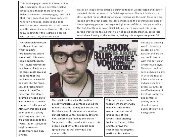 This double page spread is a feature of an NME magazine. It's an overall attractive layout and although there isn't much  ...