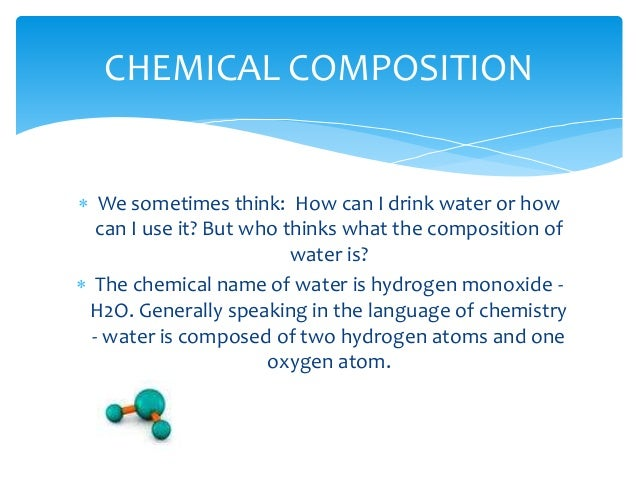 Plant Chemical Components : Chemical composition of water by group