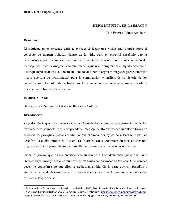 Juan Esteban López Agudelo                                                             HERMENÉUTICA DE LA IMAGEN          ...