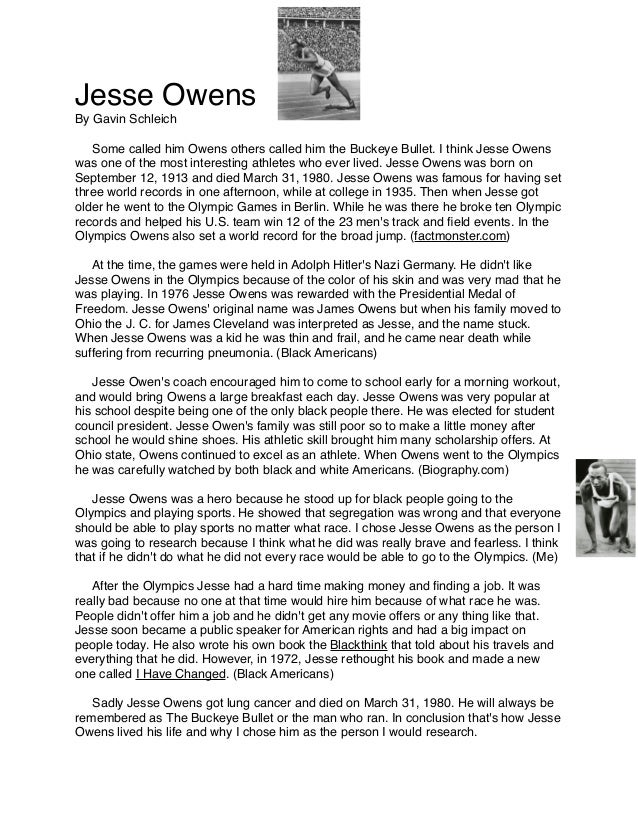 Jesse Owens By Gavin Schleich    Some called him Owens others called him the Buckeye Bullet. I think Jesse Owens was one o...