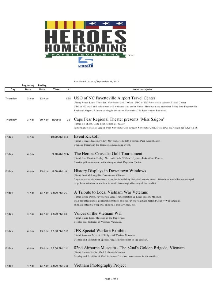 Heroes Homecoming Events